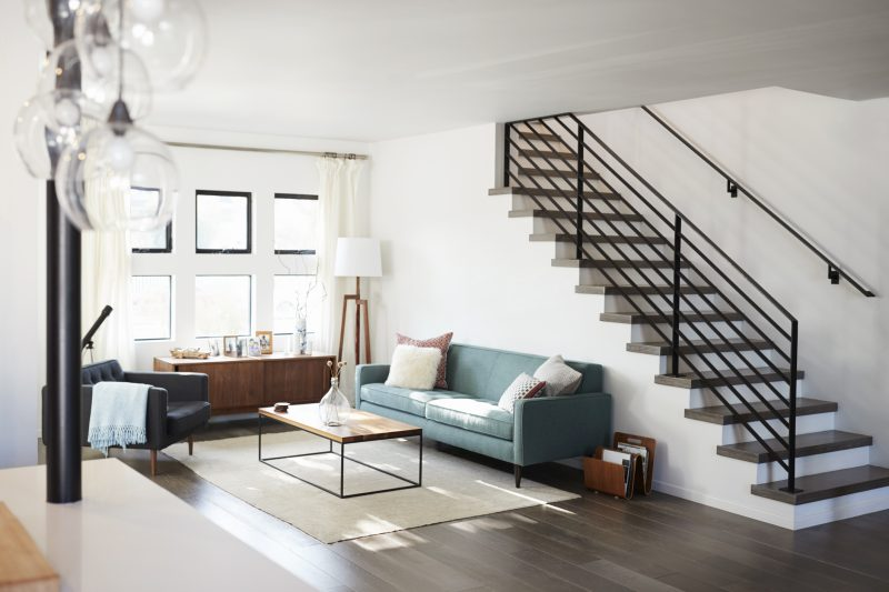 contemporary lounge with staircase